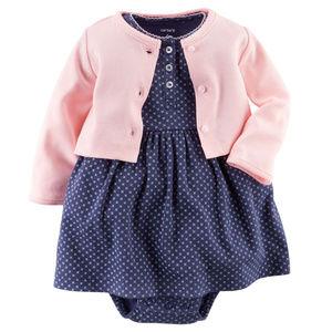 Carters Baby Girl Dress & Pink Cardigan Set